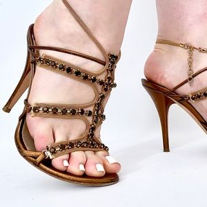 Jimmy Choo Gold Mesh Crystal Heel Sandals Sz 39